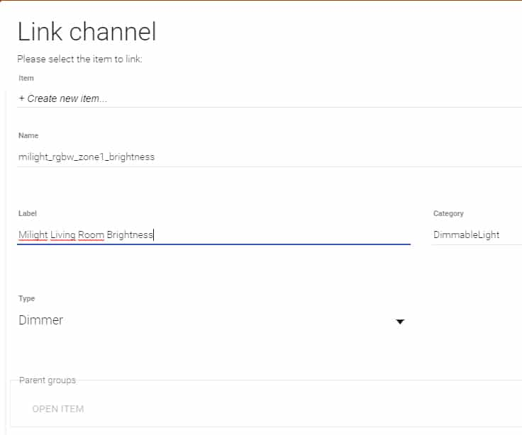 OpenHab MiLight Binding - Link Channel